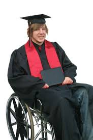 university graduate in wheelchair