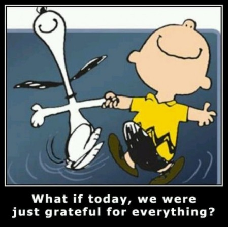 Charlie and Snoopy grateful for everything